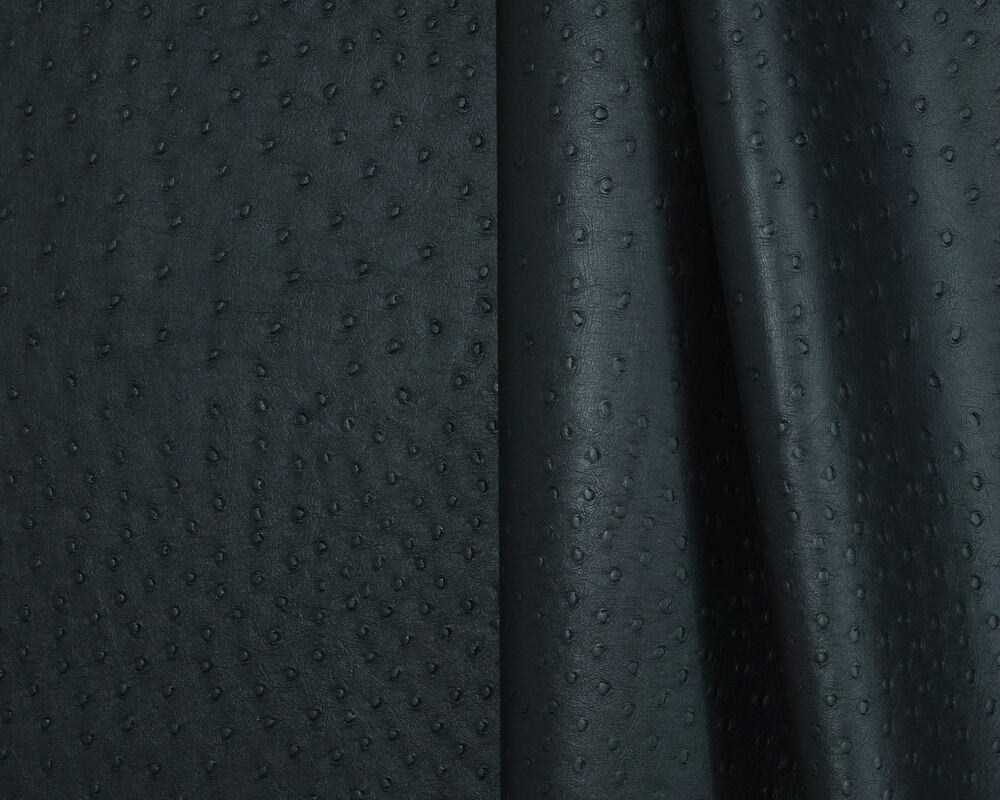 ostrich black vinyl leatherette fabric for auto and interior upholstery use ebay. Black Bedroom Furniture Sets. Home Design Ideas
