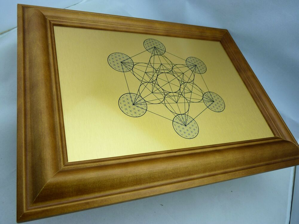 Brushed Gold Wall Decor : Metatron s cube sacred geometry wall art print on gold