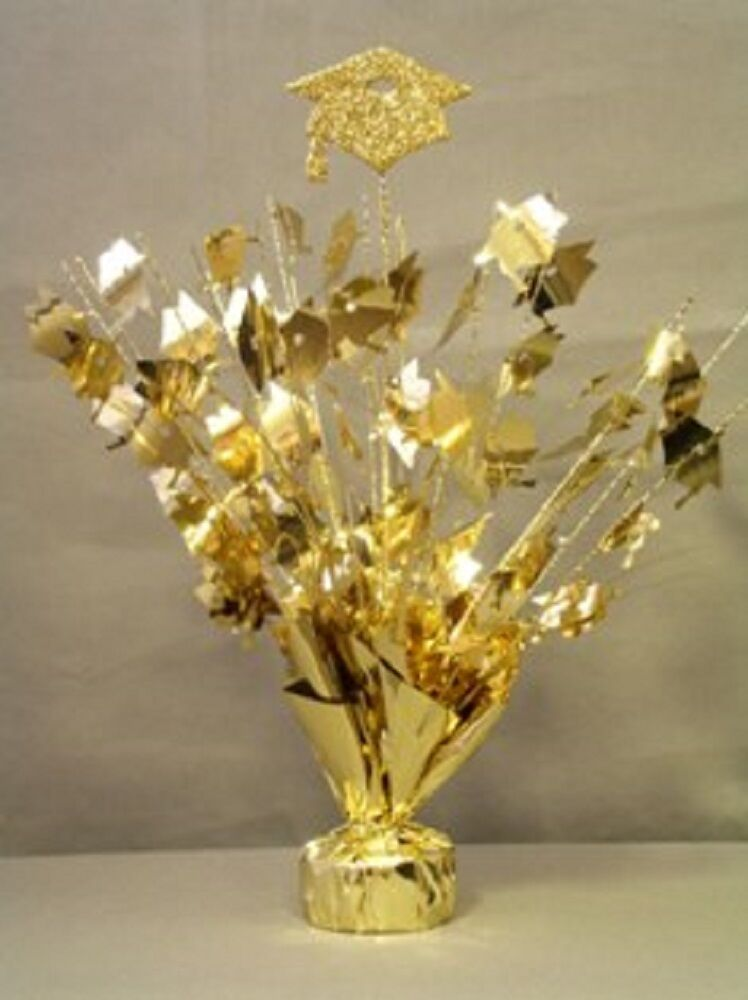 2 pieces gold graduation centerpiece 14 tall with foam graduation hat ebay. Black Bedroom Furniture Sets. Home Design Ideas