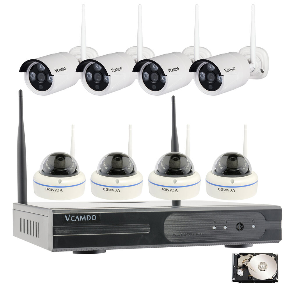 8ch wireless home surveillance security system wifi 720p ip cameras complete kit ebay. Black Bedroom Furniture Sets. Home Design Ideas
