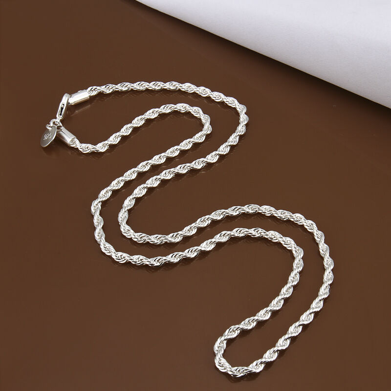 halskette silber silberkette rund kette kordelkette 40 45 50 55 60 cm schmuck ebay. Black Bedroom Furniture Sets. Home Design Ideas