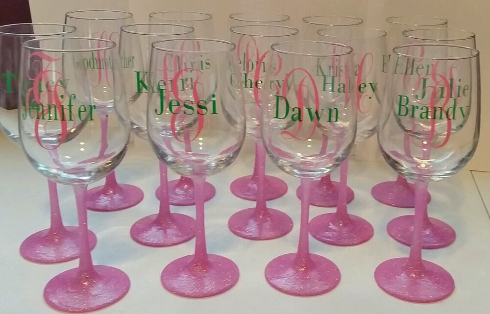 How Many Wine Glasses For Wedding Gift : ... wine glass great wedding favors or gifts glitter stem glasses eBay