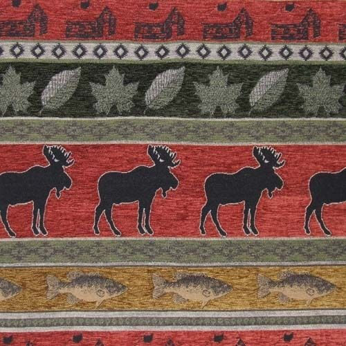 Moose Fish Cabin Upholstery Fabric Lodge Leaf Chenille