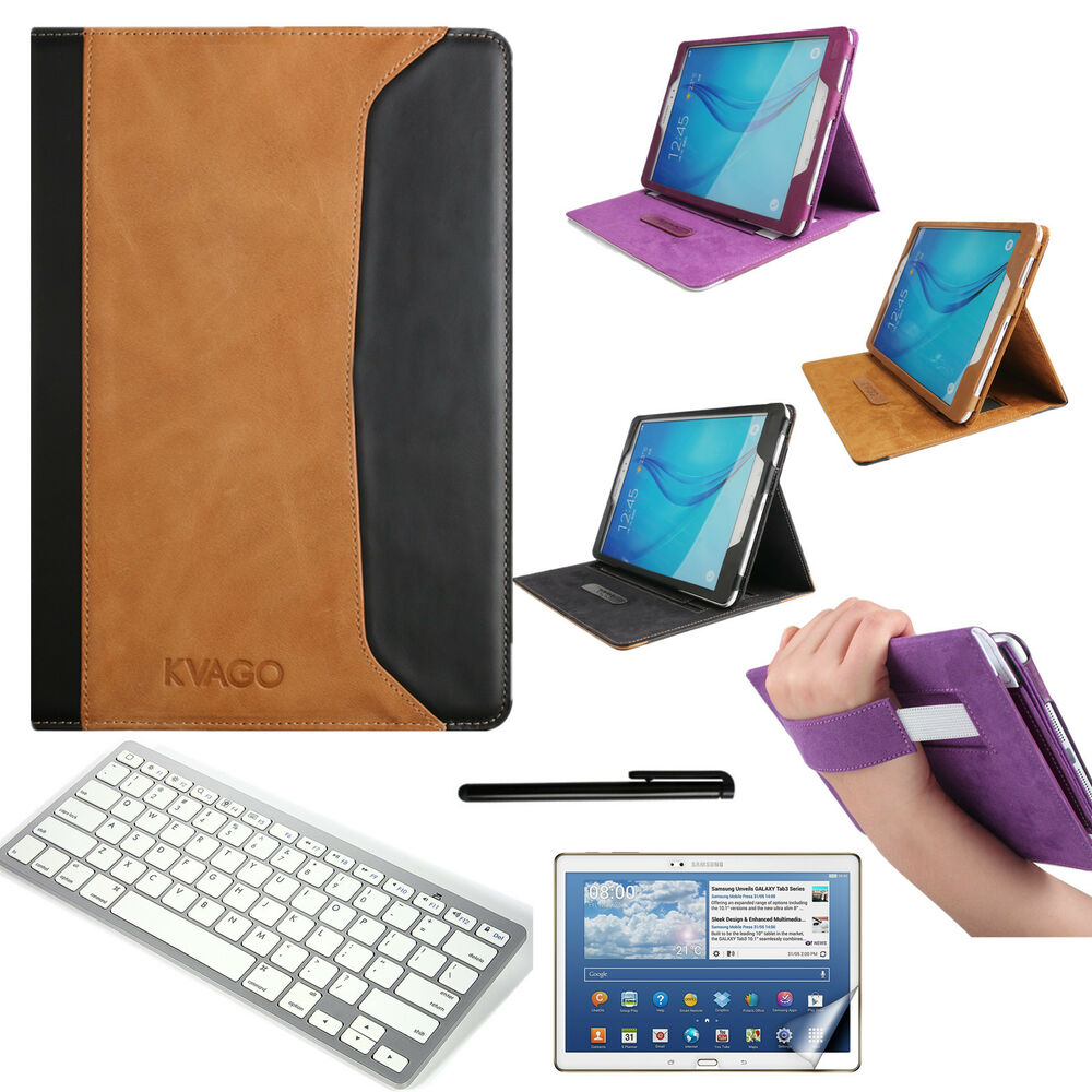genuine leather flip stand book case keyboard for samsung