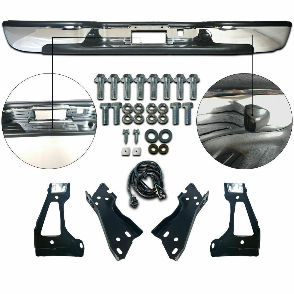 gm1103122 new rear step bumper chrome for chevy silverado. Black Bedroom Furniture Sets. Home Design Ideas