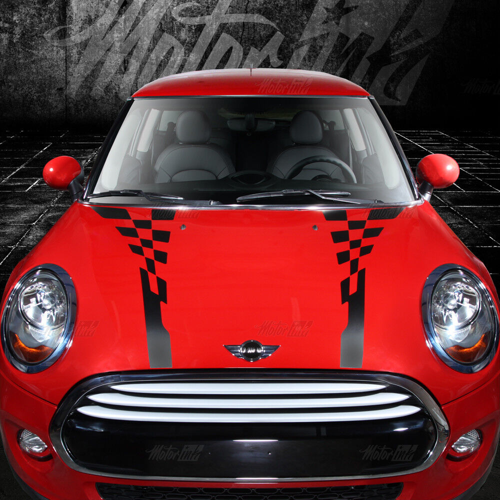 2014 2015 Mini Cooper Checkered Hood Rally Racing Accent