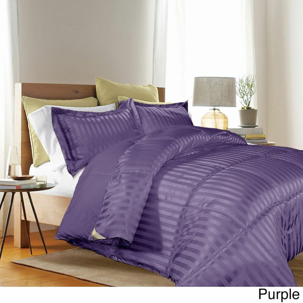 Down Alternative Comforter Set Reversible 3pc Stripe Solid