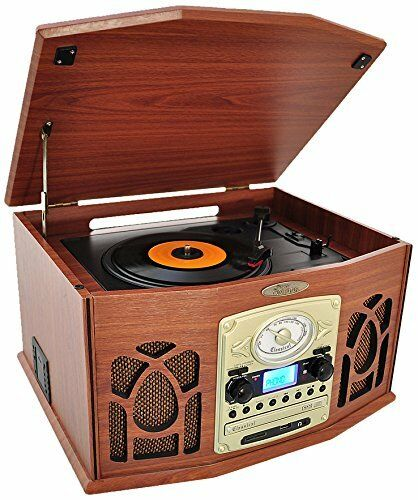 New bluetooth retro vintage turntable record player with vinyl to mp3 recordi - Lecteur vinyle retro ...