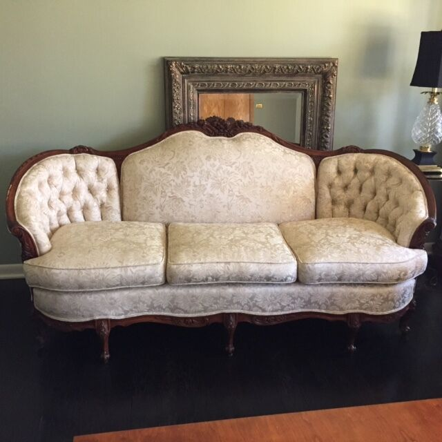 Hand made french provincial solid mahogany three piece for Front room furniture sets