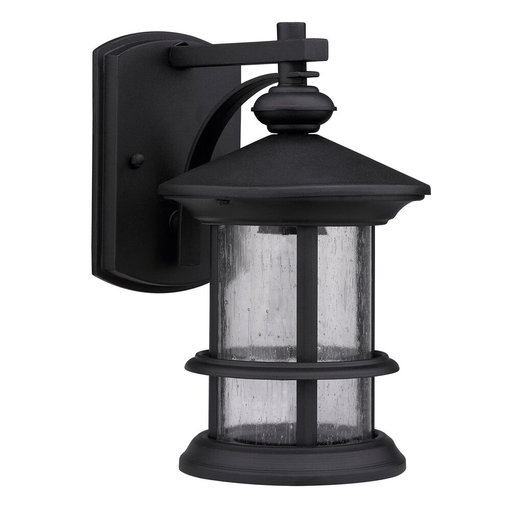Wall mounted exterior outdoor black single lamp light for Outdoor yard light fixtures