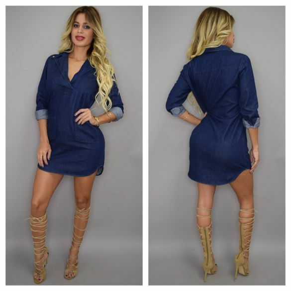 Women Long Sleeve Casual Dress Sexy Denim Skirt Shirt ...