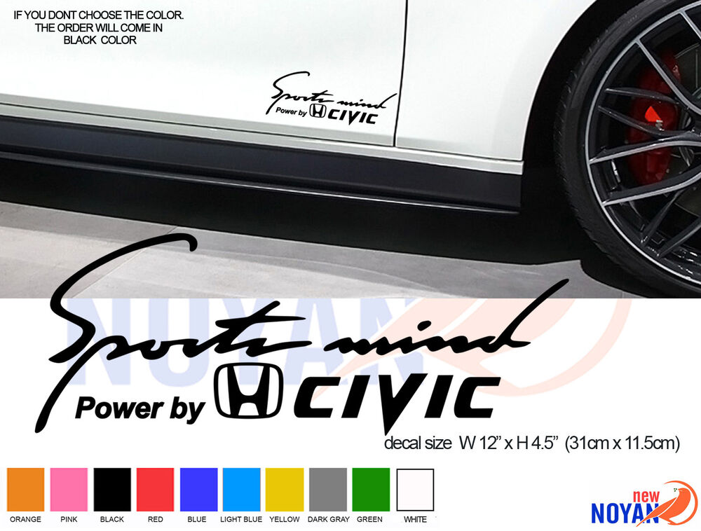 2x Power By Honda Civic Sports Mind Decal Vinyl Die Cut