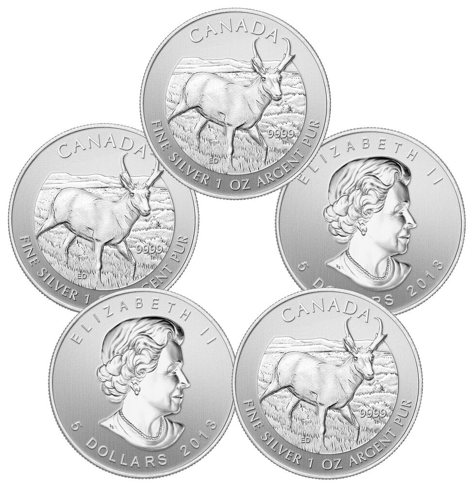 2013 Silver Canadian Pronghorn Antelope Coins 5 Oz Total
