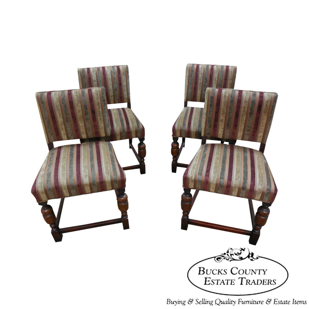 Antique 1920s Solid Oak Set Of 4 Jacobean Style Dining Chairs EBay