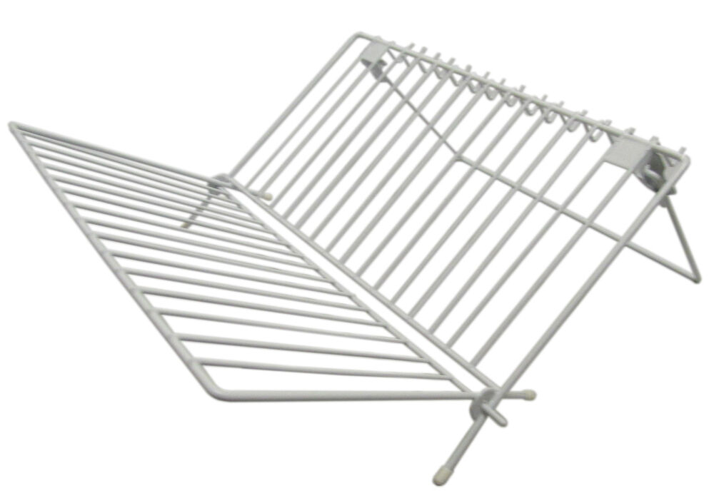 Folding Dish Drainer Rack With Cup Holders Caravan