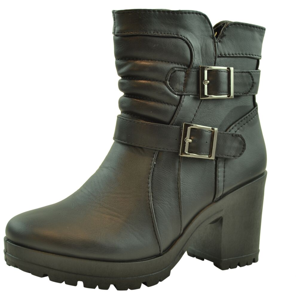Womens Padded Ankle Boots Buckle Accent Chunky Heel Lug