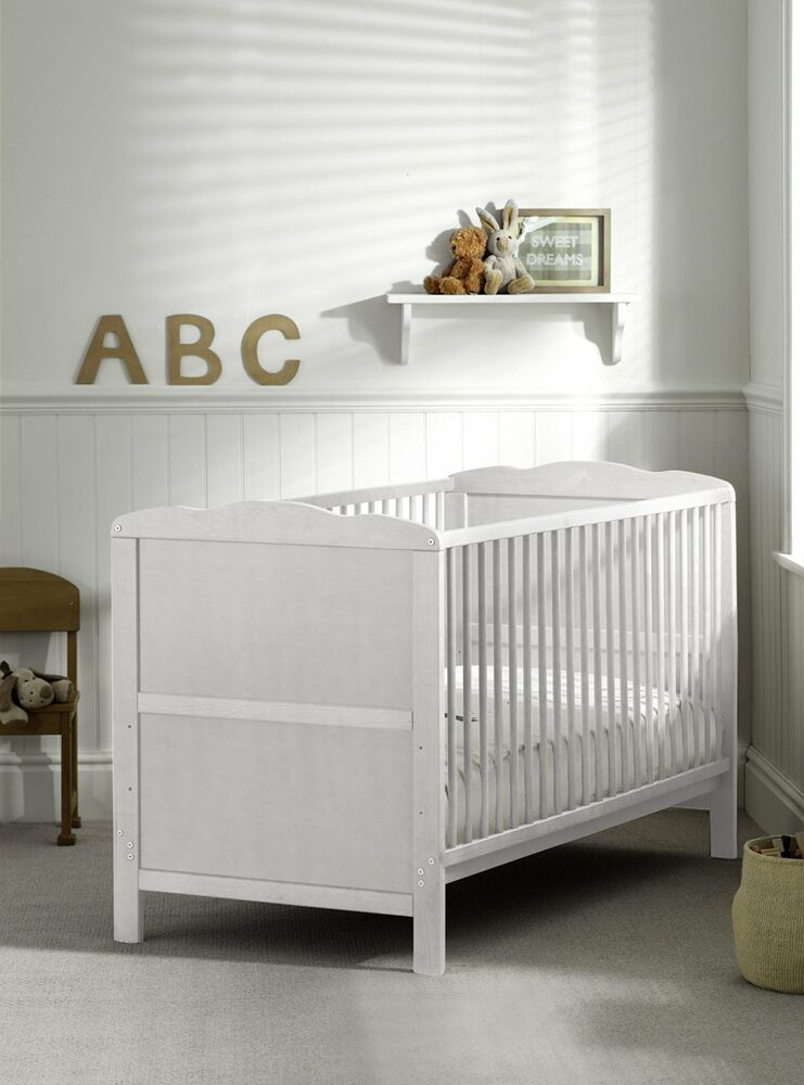 Baby Bedroom Furniture Packages: Brand New White Cot Bed & Cotbed Deluxe Mattress, Converts