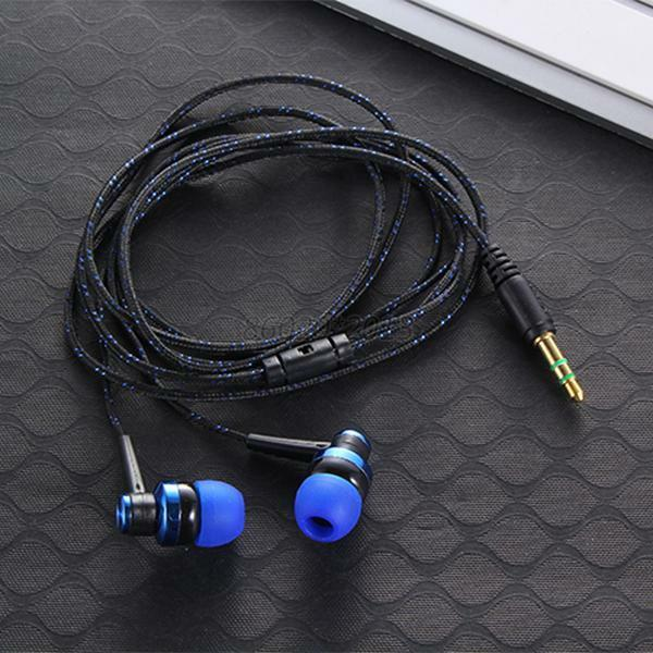 5 colors 3 5 mm stereo plug headphone braided wire. Black Bedroom Furniture Sets. Home Design Ideas