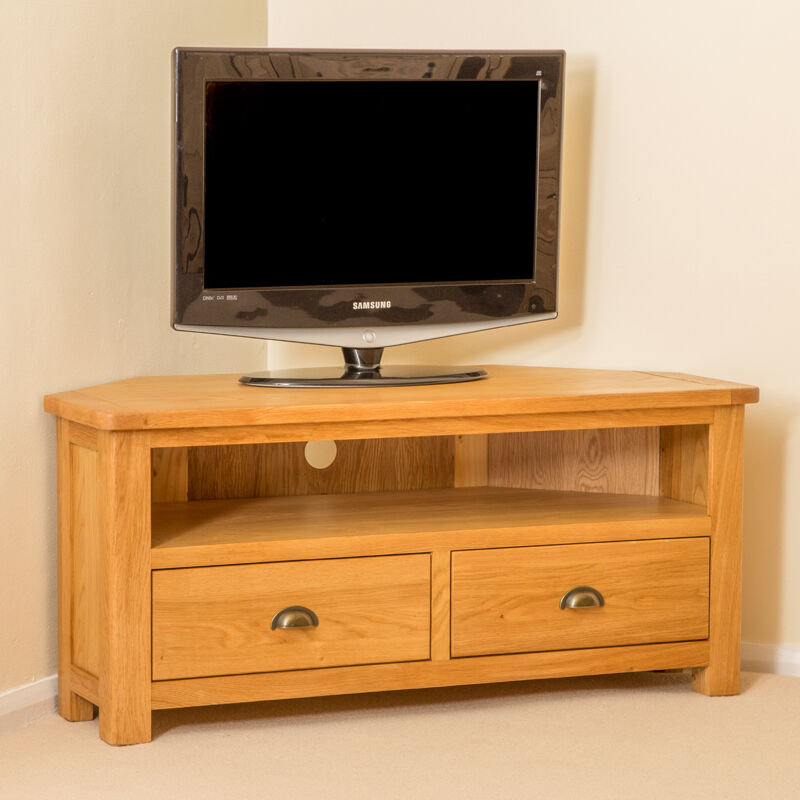 Roseland Oak Corner TV Stand / Large Oak Corner TV Cabinet ...