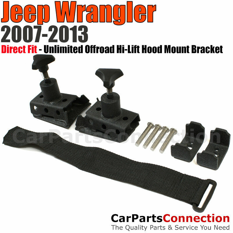 Unlimited Offroad Hi Lift Hood Mount Bracket Black Jeep