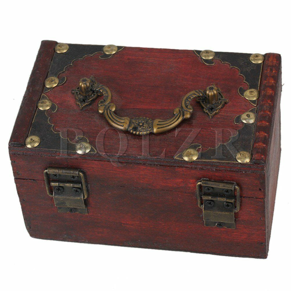 Small Decorative Jewelry Boxes : Vintage small wooden jewelry treasure chest case box