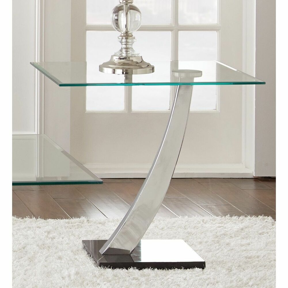 Chrome and glass end table living room accent home furniture decor lounge den ebay Black glass side tables for living room
