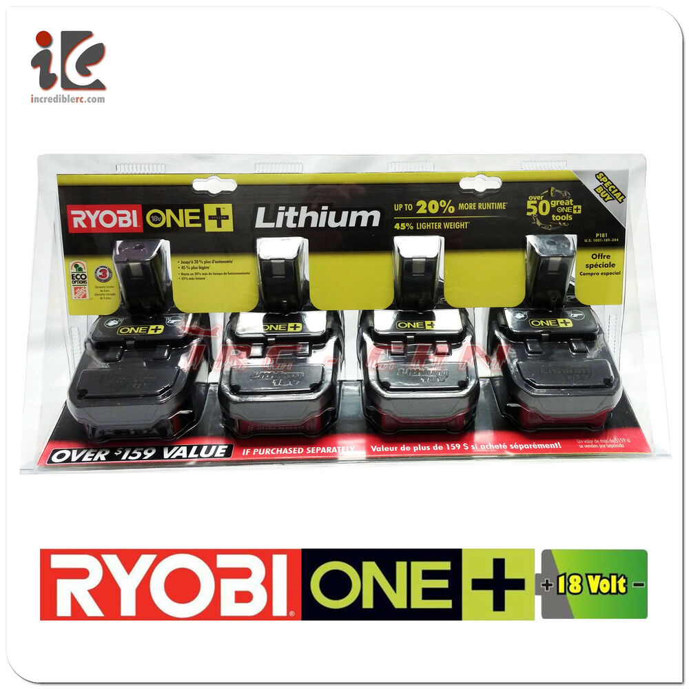 Ryobi 18v 18 Volt One Compact Lithium Ion Battery P181 P102 4 Pack Brand New Ebay
