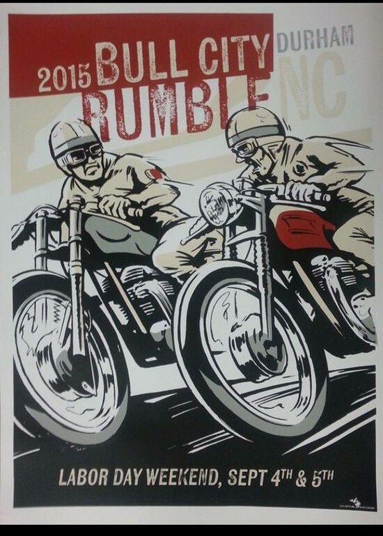 Screen Printed Vintage Motorcycle Poster Ace Cafe Racer Triumph BSA Norton TonUp