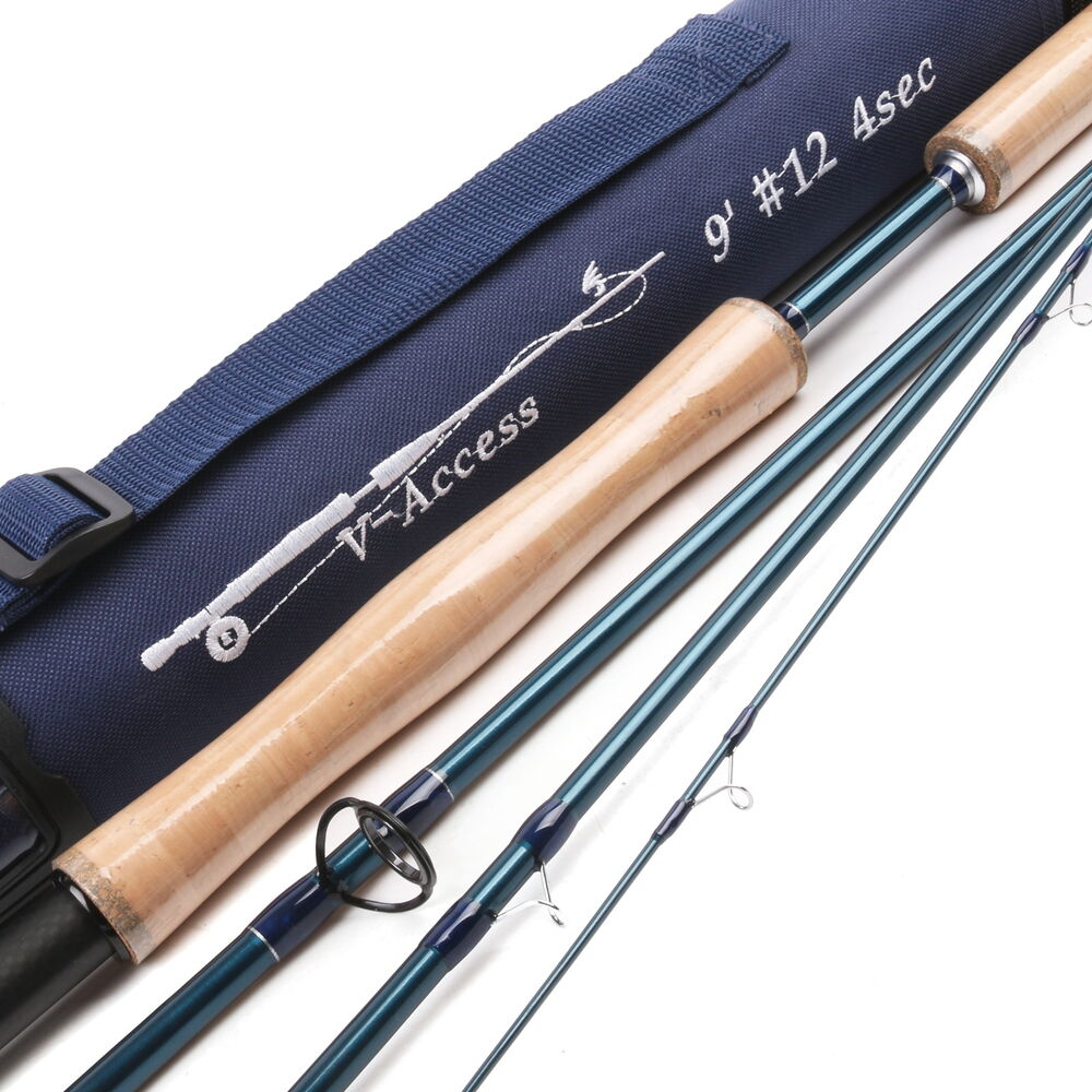 Fly rod 12 weight 9 foot 4 piece fast action jewelry blue for Blue fishing rod