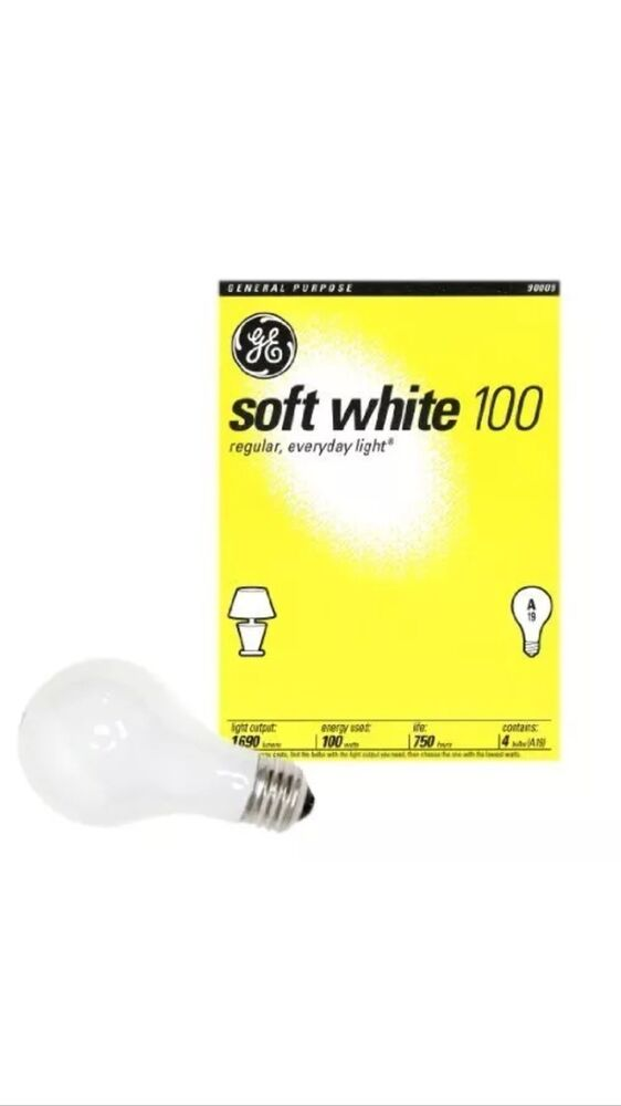 48 100 Watt Ge Soft White Incandescent Light Bulbs Case