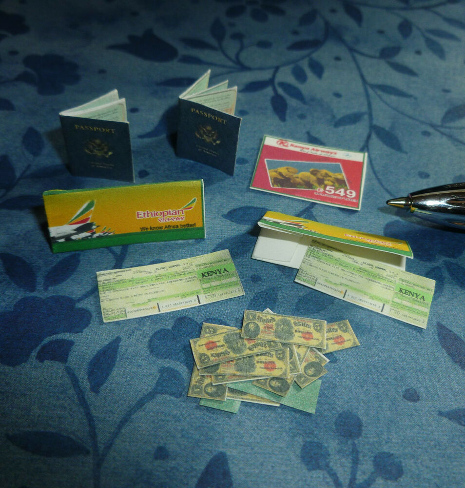 TWO PASSPORTS, MONEY, AND TWO TICKETS DOLLHOUSE MINIATURE