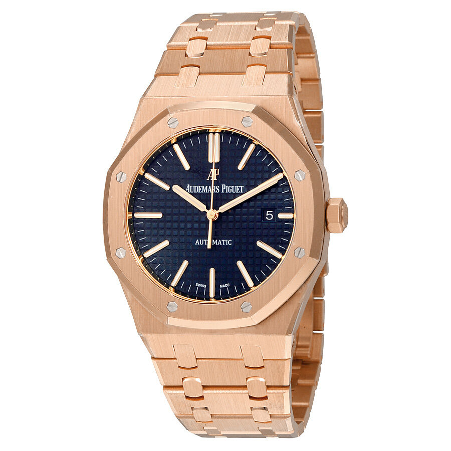 Audemars piguet royal oak automatic blue dial 18kt pink gold mens watch ebay for Audemars watches