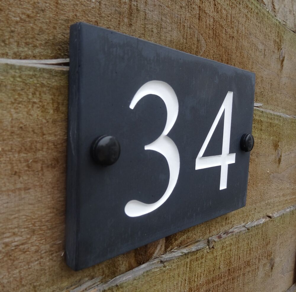 Deep Engraved Honed Natural Slate House Number Sign Plaque