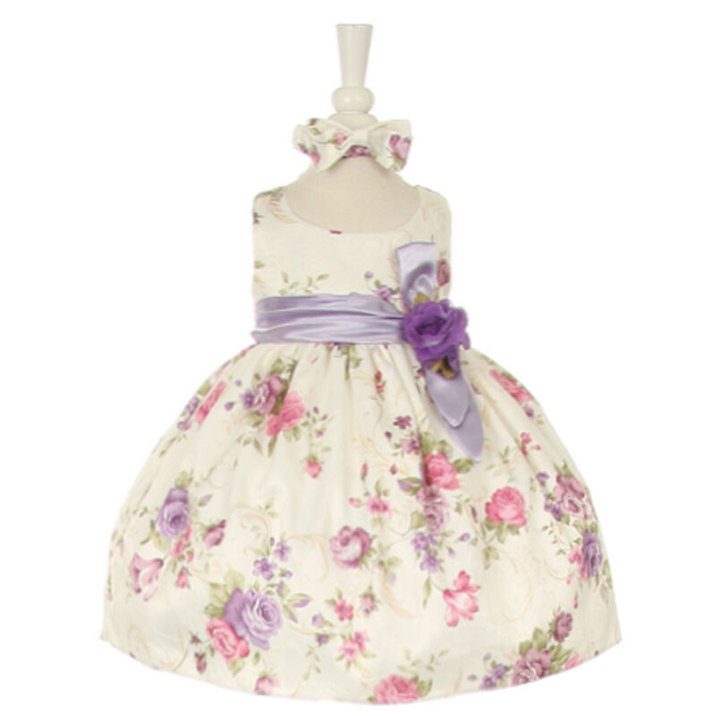 Lilac Flower Girl Baby Toddler Infant Dresses Bridesmaid