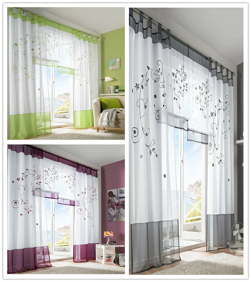 1pc Modern Sheer Voile Window Curtains Embroidered Bedding