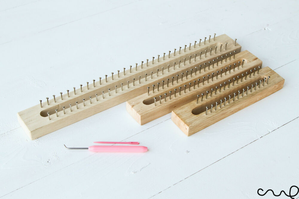 Knitting Looms Wood : New wooden knitting loom fine gage board with hook
