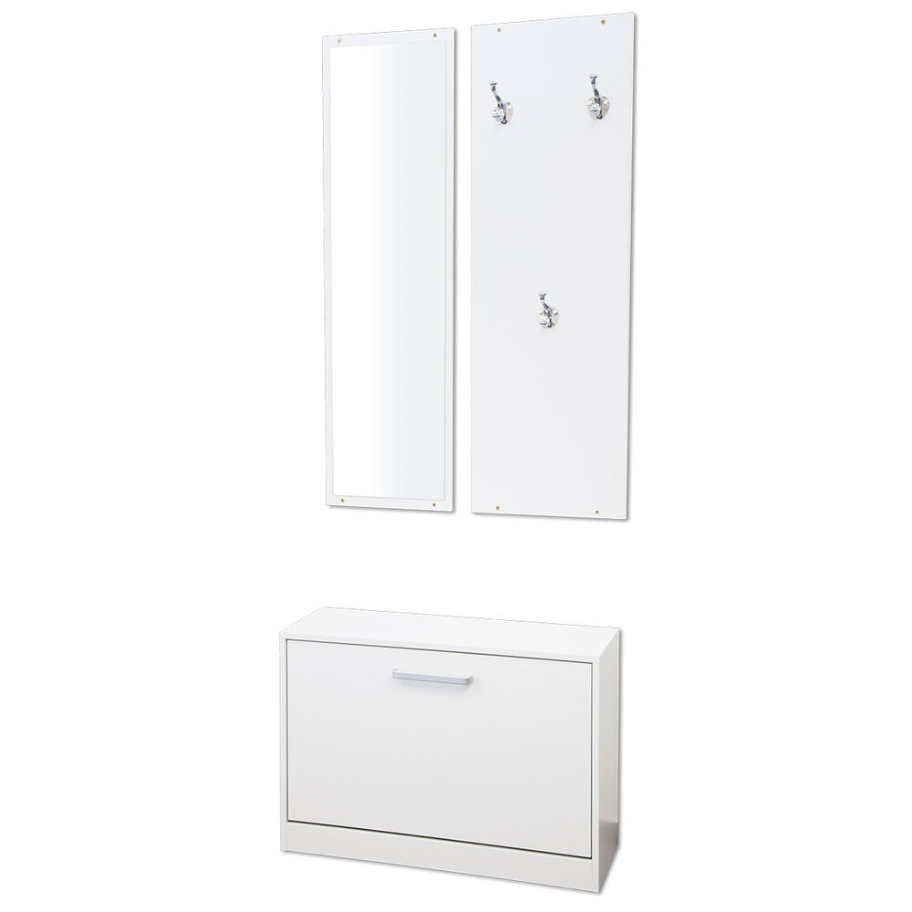 garderobe garderoben set 3 teilig pisa weiss flurgarderobe schuhschrank ebay. Black Bedroom Furniture Sets. Home Design Ideas
