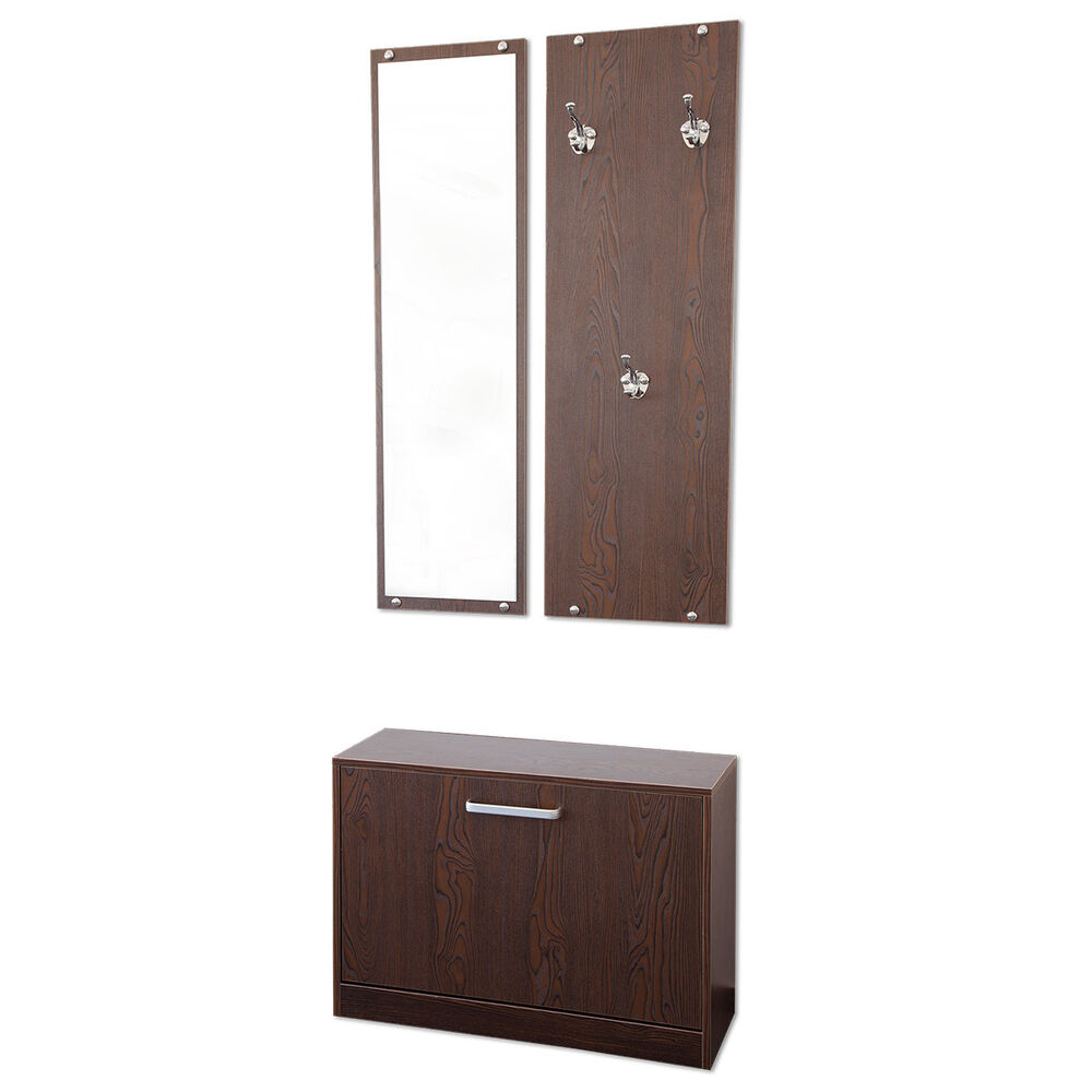 garderoben set 3 teilig pisa nussbaum garderobe flurgarderobe schuhschrank ebay. Black Bedroom Furniture Sets. Home Design Ideas