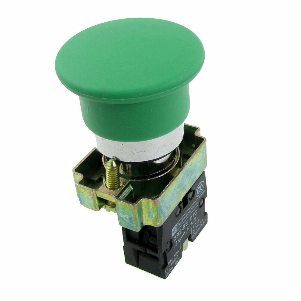 Green Sign Momentary Mushroom Push Button Switch 1 No