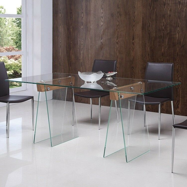 Trestle Glass Dining Table EBay
