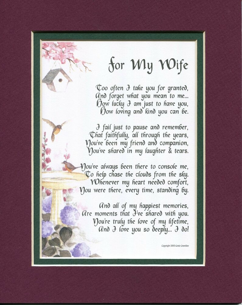 40th Birthday Wishes For Wife ~ Gift present poem for a wife anniversary th birthday ebay