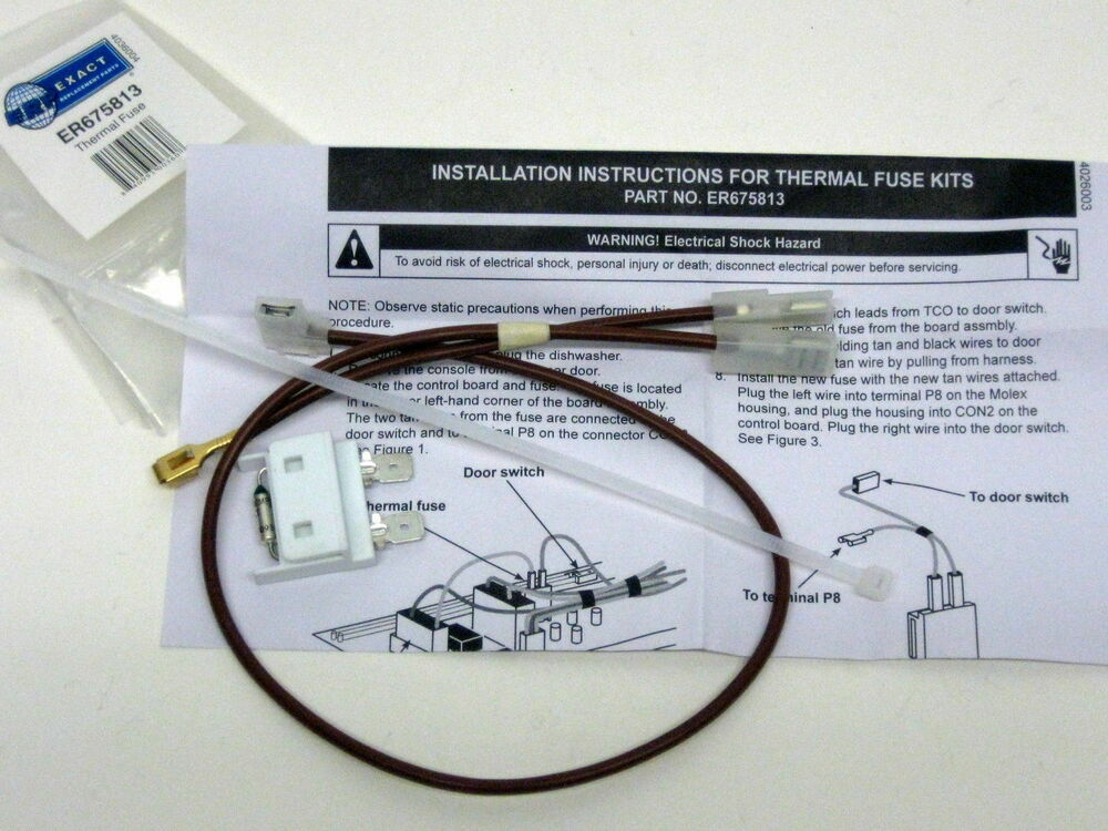 Wp675813 For Whirlpool Kenmore Dishwasher Thermal Fuse Link For Door Switch