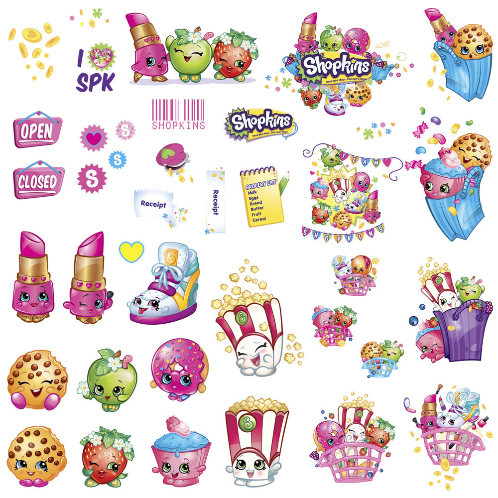 SHOPKINS WALL DECALS 39 New Grocery Stickers Peel And Stick Removable Decor EBay