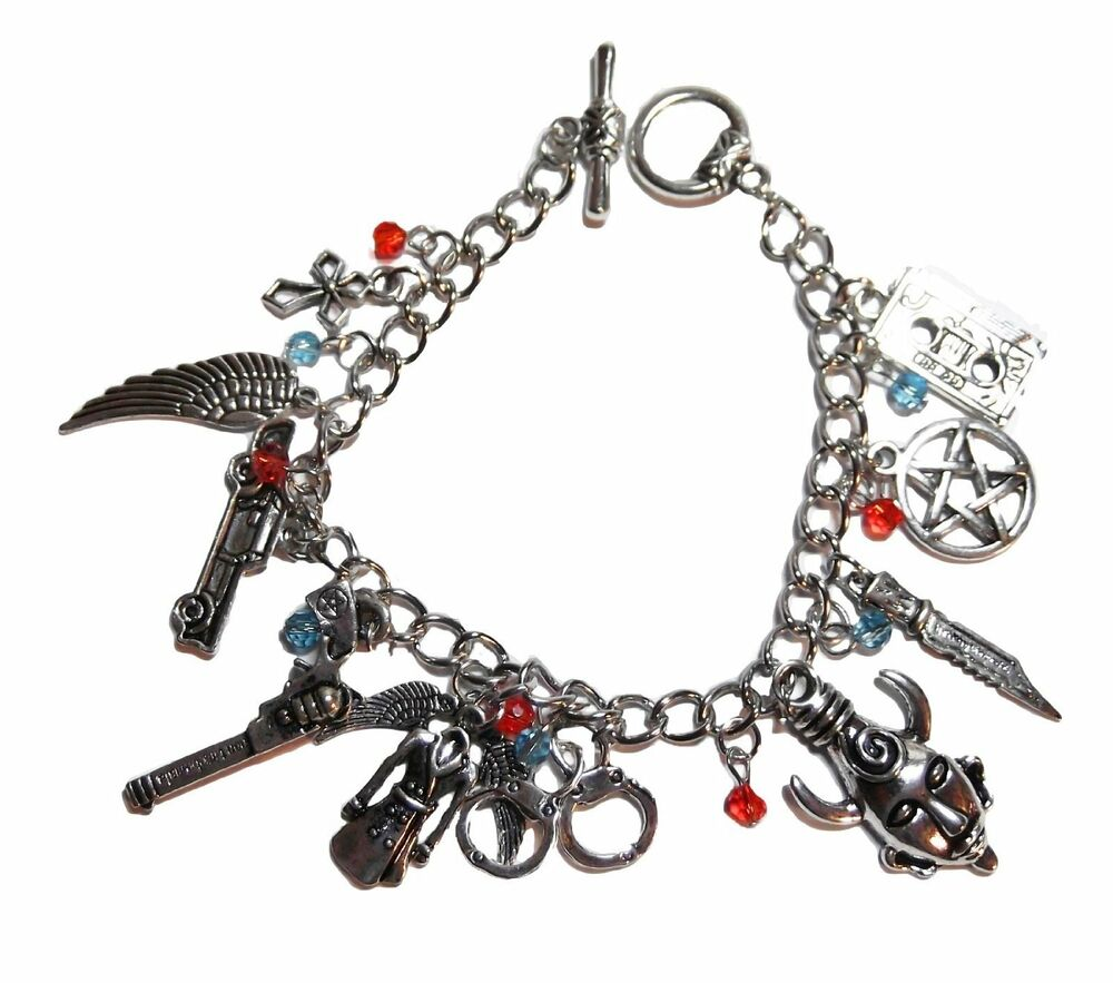 Charm Bracelet Jewelry: Supernatural TV Series Silvertone (11 Charms) Charm