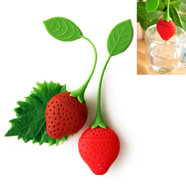 2Pc Strawberry Silicone Tea Leaf Bag Herbal Spice Infuser Filter Tool For Travel