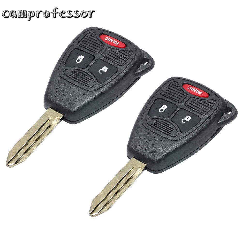2PCS* New Uncut Remote Key Fob 3 Button For Chrysler Jeep