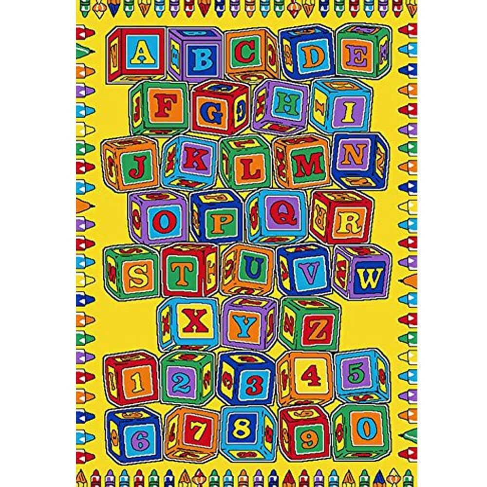 KIDS CHILDREN SCHOOL CLASSROOM ABC Blocks 5' X 7' LARGE