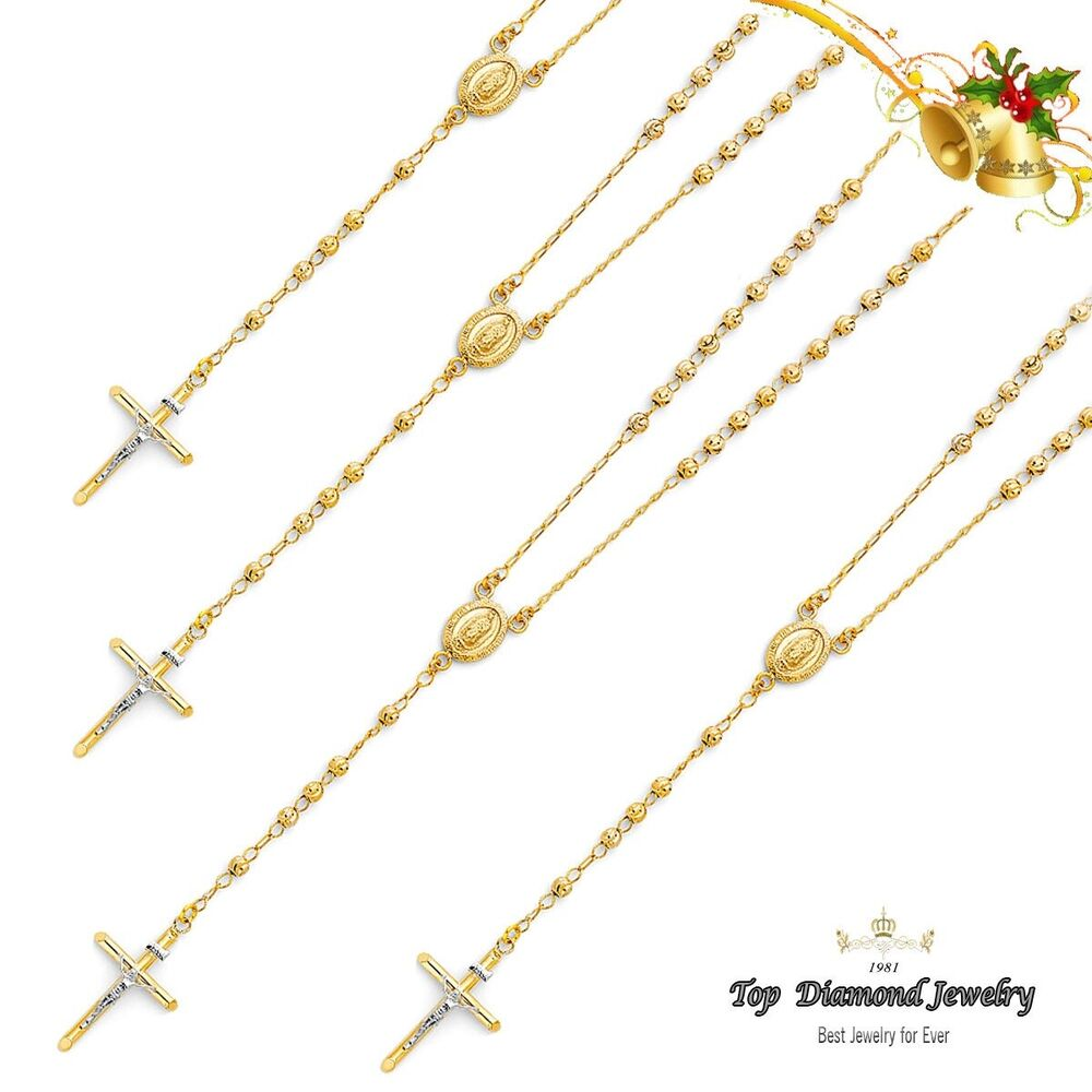 14k Solid Yellow Gold Guadalupe Rosary Necklace Chain 26