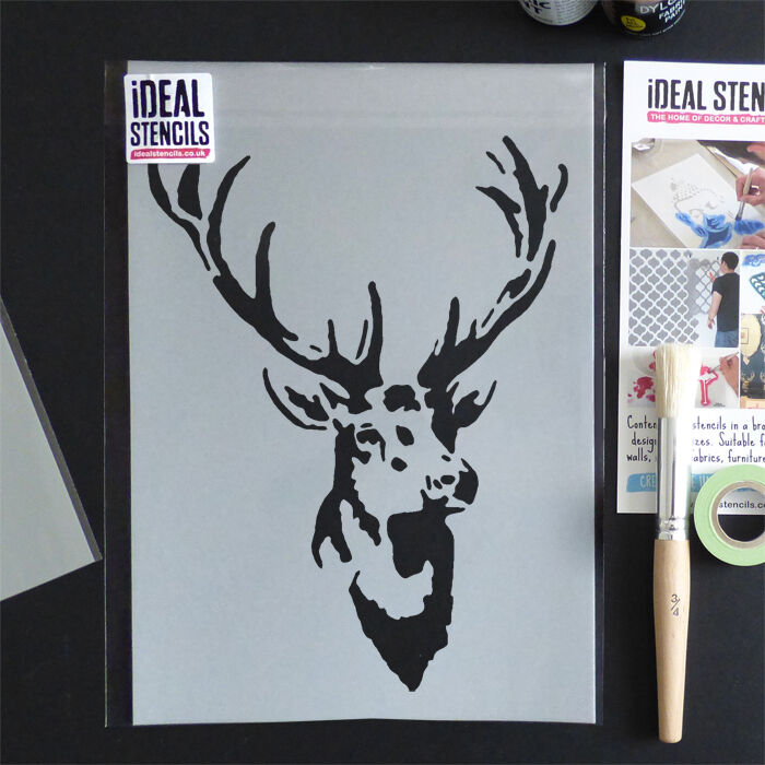 Stag Stencil Vintage Home Decor Wall Fabric Furniture