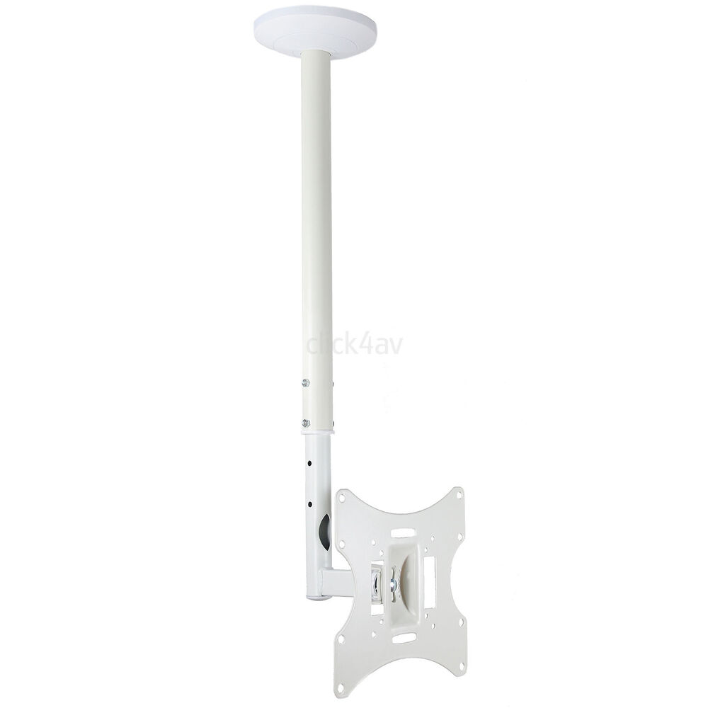 White Tv Ceiling Mount Bracket Tilt Swivel For Most 23 26